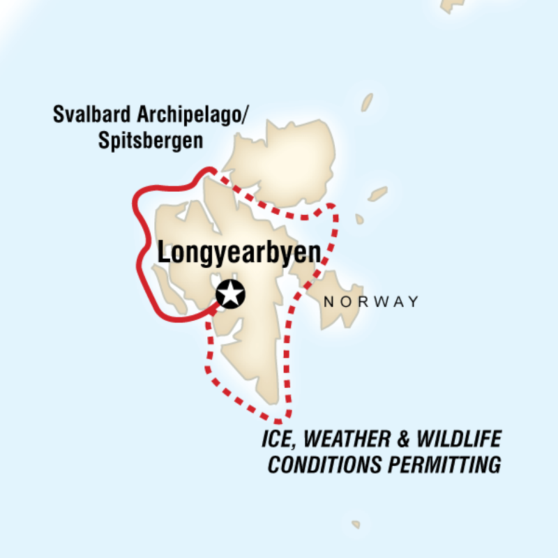 Svalbard – Realm of the Polar Bear In Depth Route Map