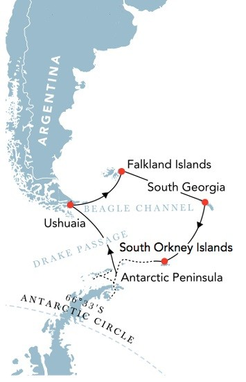 Antarctica, Falklands and South Georgia with South Orkneys Route Map