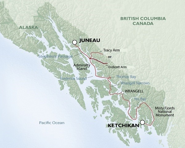 Alaska's Inside Passage – Eastern Coves Route Map