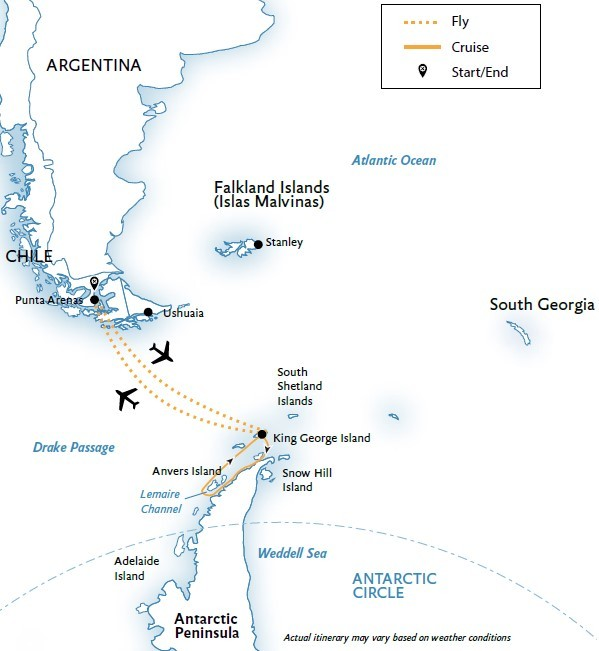 Antarctic Express – Air Cruise Route Map