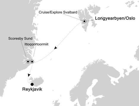 Svalbard, Greenland & Iceland Route Map