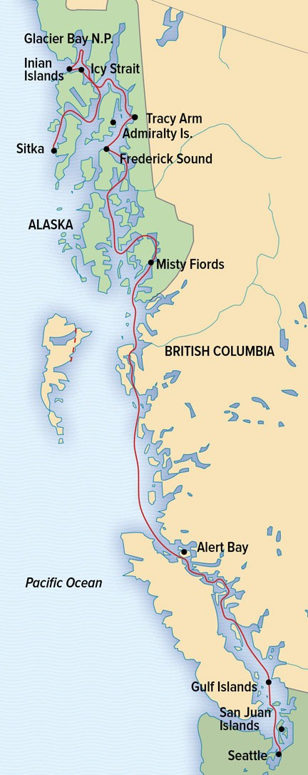 Treasures of the Inside Passage: <br>Alaska and British Columbia Route Map