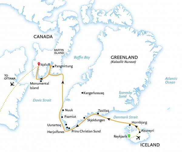 Iceland, Greenland, and Baffin Island Route Map