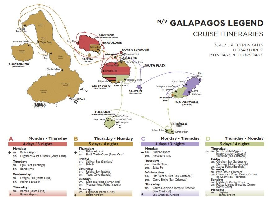 Galapagos Classic – Eastern/Western Route Map