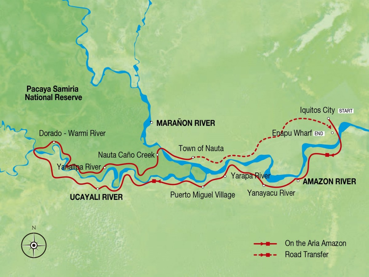 Amazon Discovery– Low Water Season Route Map
