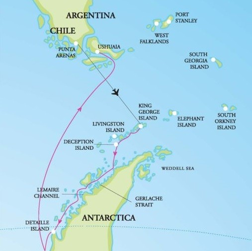 Antarctic Peninsula with Circle Crossing Route Map