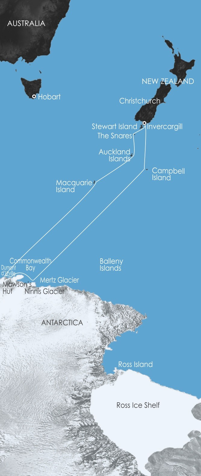 East Antarctica – In the Wake of Mawson Route Map