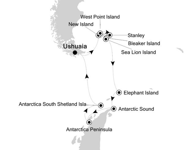 Antarctic Peninsula and the Falkland Islands – Holiday Voyage Route Map