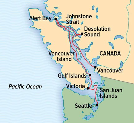 Exploring British Columbia and the San Juan Islands Route Map