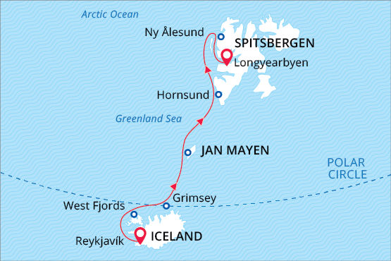 Three Pearls of the Arctic: Iceland, Jan Mayen, and Spitsbergen Route Map