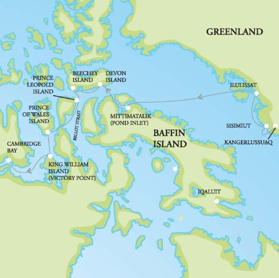Northwest Passage and Greenland Route Map