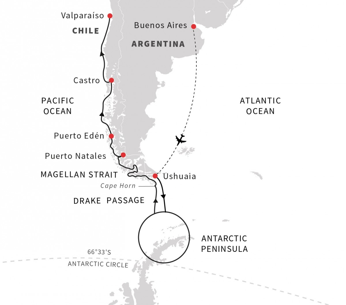 Patagonia to Antarctica Route Map