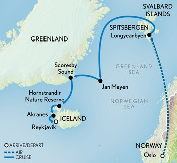 Norway, Svalbard, Greenland, and Iceland Route Map