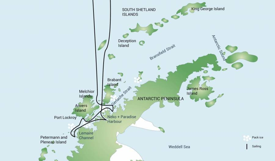 Antarctic Peninsula Route Map