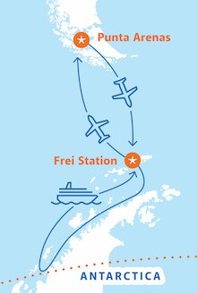Antarctic Peninsula with Circle Crossing – Air-Cruise Route Map