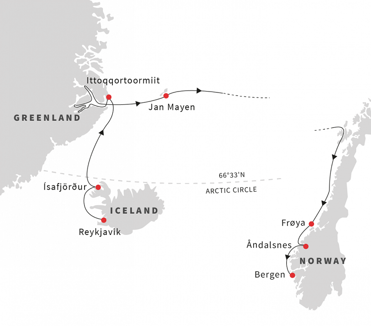 Greenland, Iceland, and Norway – The Arctic Fjords Expedition Route Map