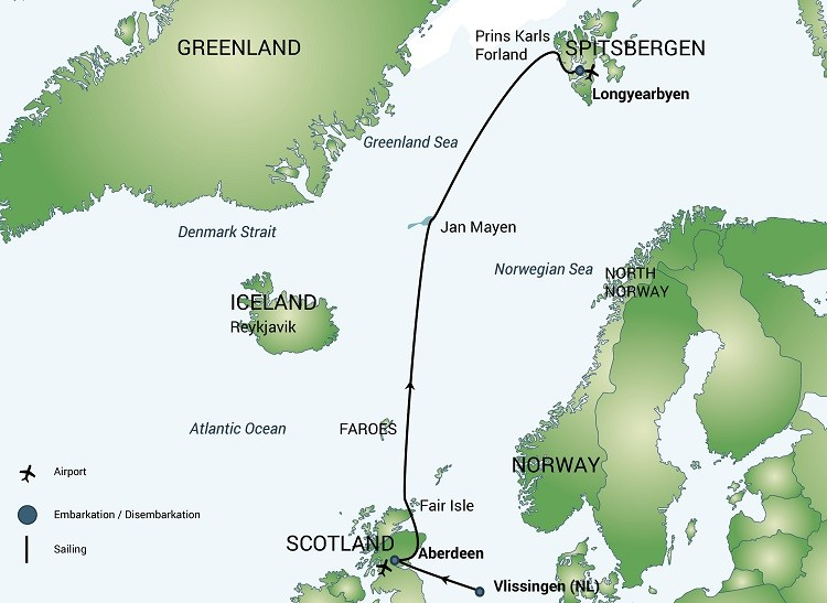 Fair Isle, Jan Mayen and Spitsbergen – Whale Safari Route Map