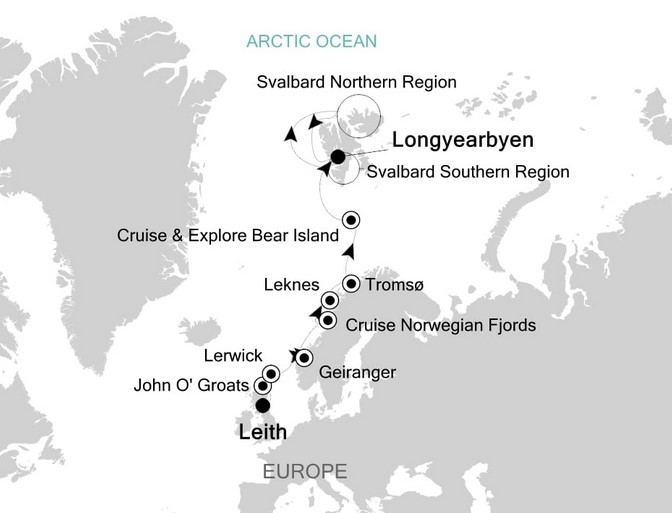 Scotland, Norwegian Fjords, and Svalbard Route Map