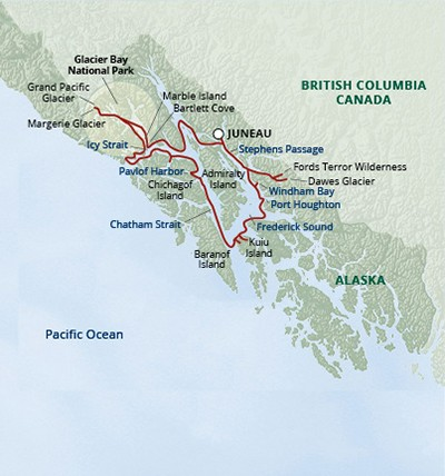Alaska's Glacier Bay Small Ship Cruise Route Map