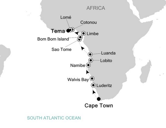 West Africa – Namibia, Angola, Sao Tome, and Cameroon Route Map