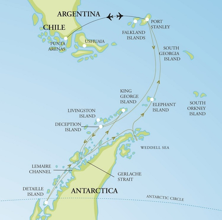 Epic Antarctica + Falklands Air-Cruise Route Map