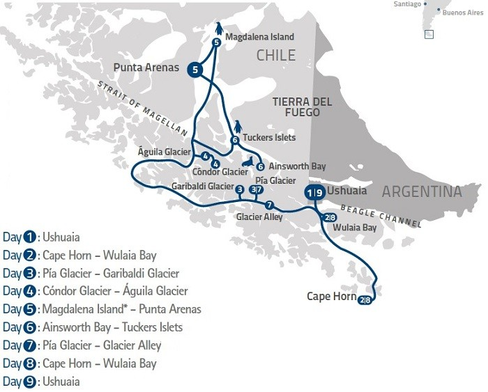 Darwin's Route from Ushuaia – Patagonia & Cape Horn Route Map