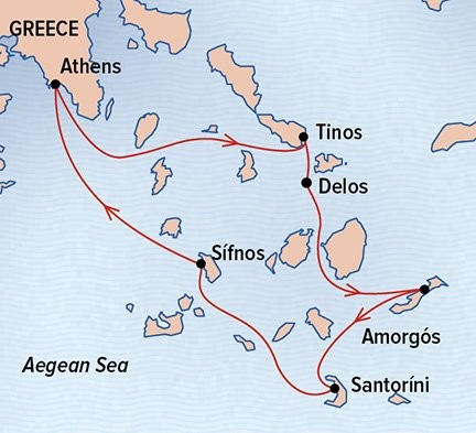 Sailing the Greek Isles Route Map