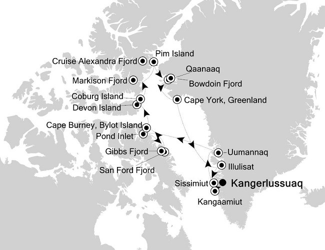 West Greenland & Canadian Arctic Route Map