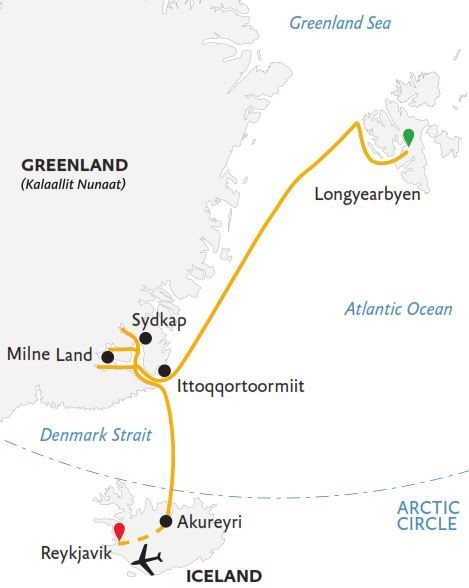 Three Arctic Islands: Iceland, Greenland, and Svalbard Route Map