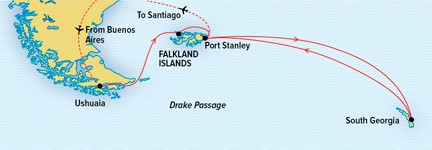South Georgia and the Falklands Route Map