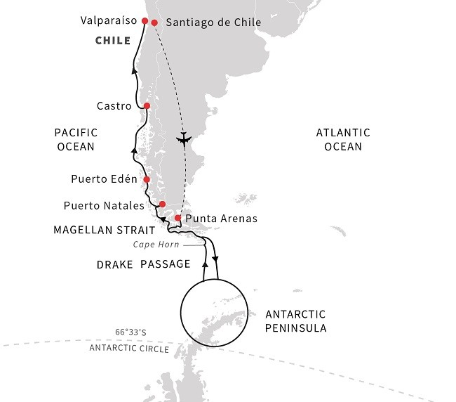 Patagonia, Chilean Fjords, and Antarctica Route Map