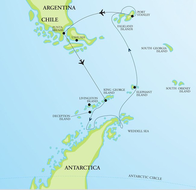 Antarctica, Weddell Sea, and Falkland Islands – <br>Holiday Voyage – Air-Cruise Route Map