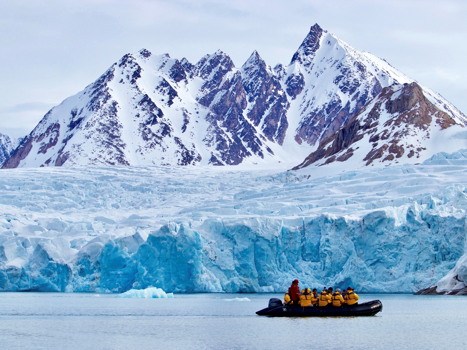 A Zodiac cruise in front of a huge glacier