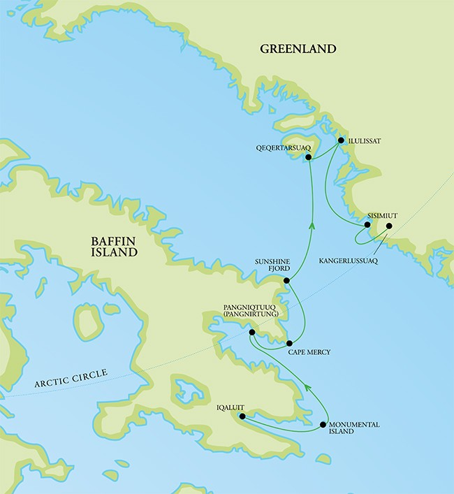 Baffin Island and West Greenland Route Map