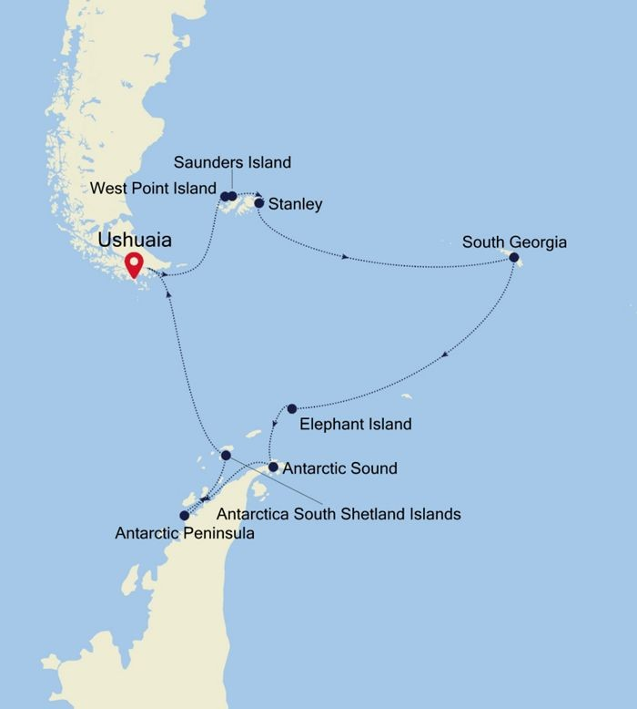 Antarctica, Falklands, and South Georgia Route Map