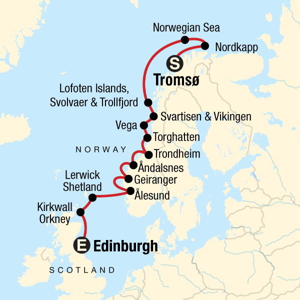 Norwegian Fjords and Scottish Islands Route Map