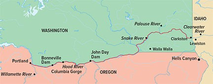 Columbia & Snake Rivers Journey in Spring Route Map