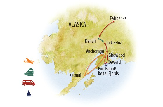 Ultimate Alaska Wildlife Safari – Gold Creek Lodge or Brooks Lodge Route Map