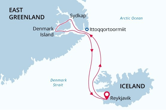 Iceland and East Greenland Route Map