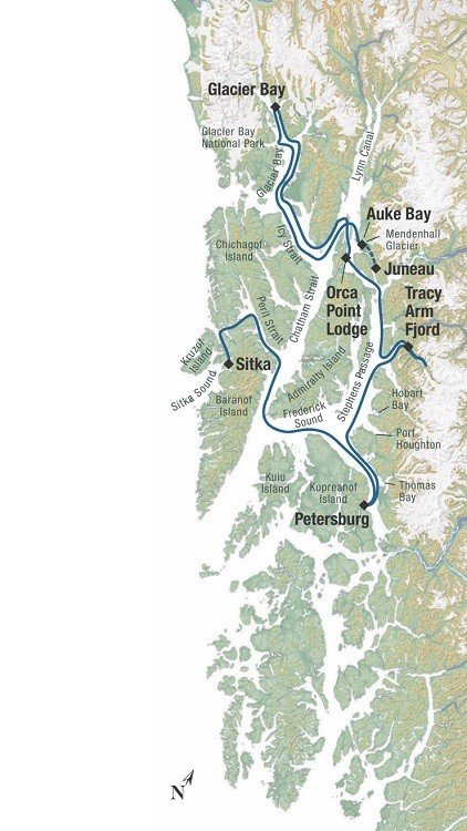 True Alaskan Family Cruise Route Map