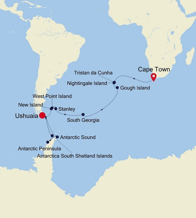 Antarctica with Cape to Cape Adventure – Argentina to South Africa Route Map