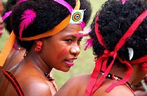 Kitava girls in ceremony, PNG