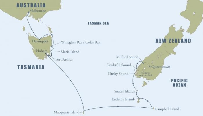 Tasmania & New Zealand: A Voyage through the Sub-Antarctic Islands Route Map