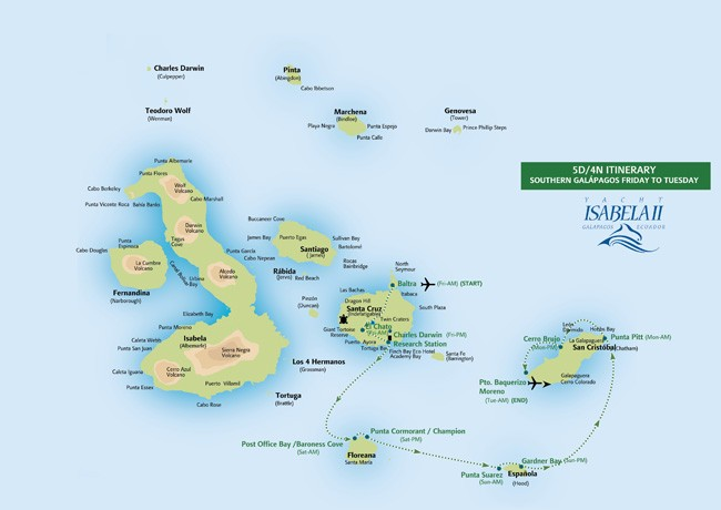 Galapagos In-Brief – Southeastern Islands Route Map