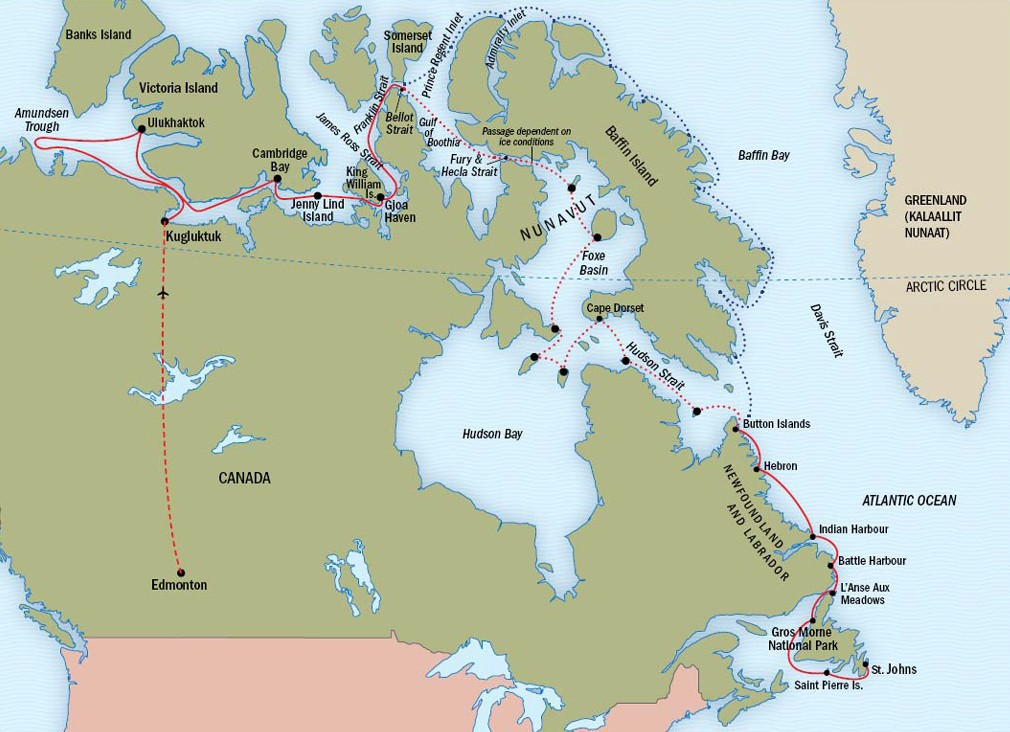 The Northwest Passage: Newfoundland and Labrador Route Map