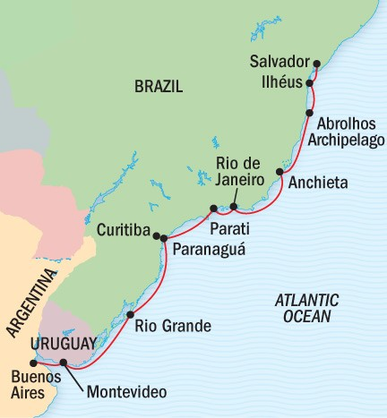 Buenos Aires, Rio & Brazil's Wild Coast Route Map