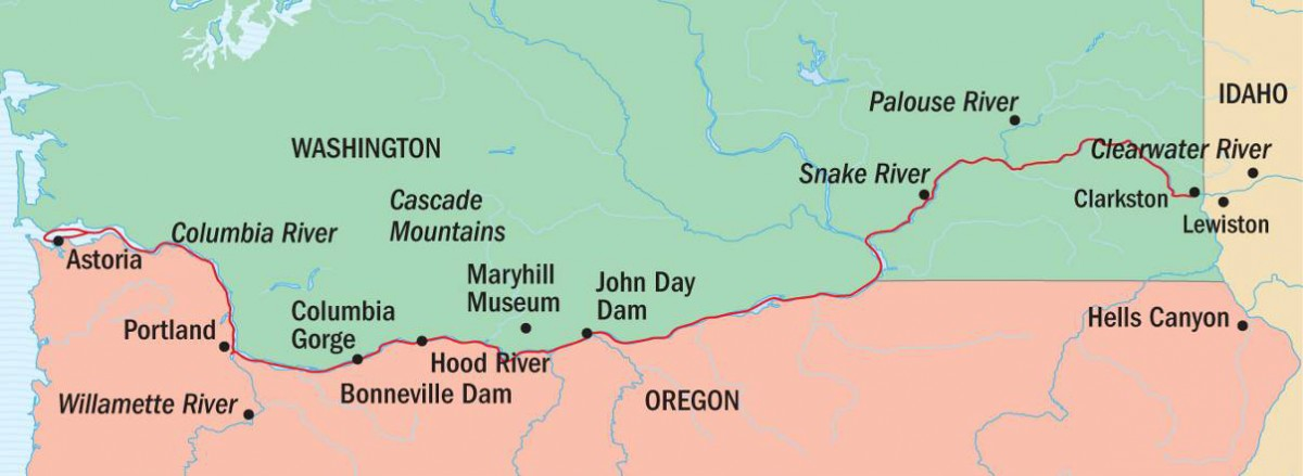 Columbia & Snake Rivers Journey Route Map