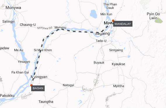 Myanmar River Cruise – Bagan Roundtrip Route Map