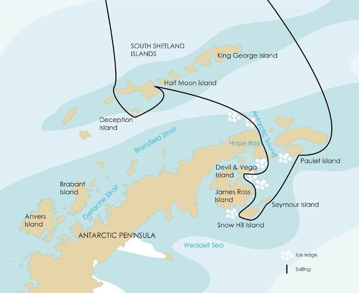 Weddell Sea – In Search of Emperor Penguins Route Map