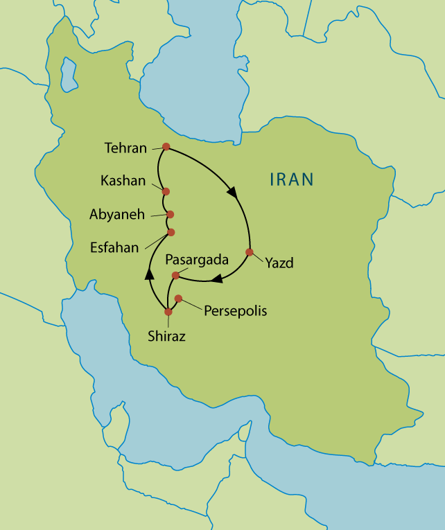 Iran: Wonders of Persia Route Map